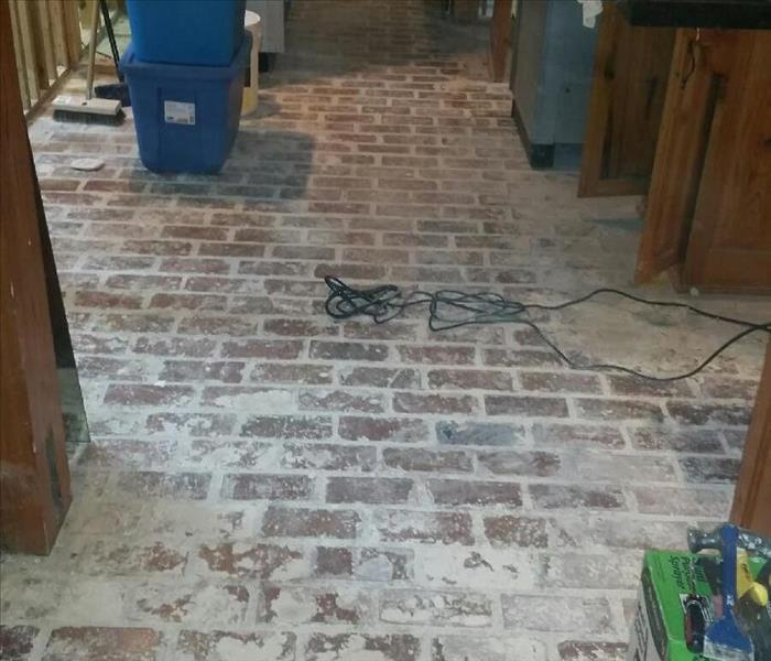 Brick Floor Cleaning Before